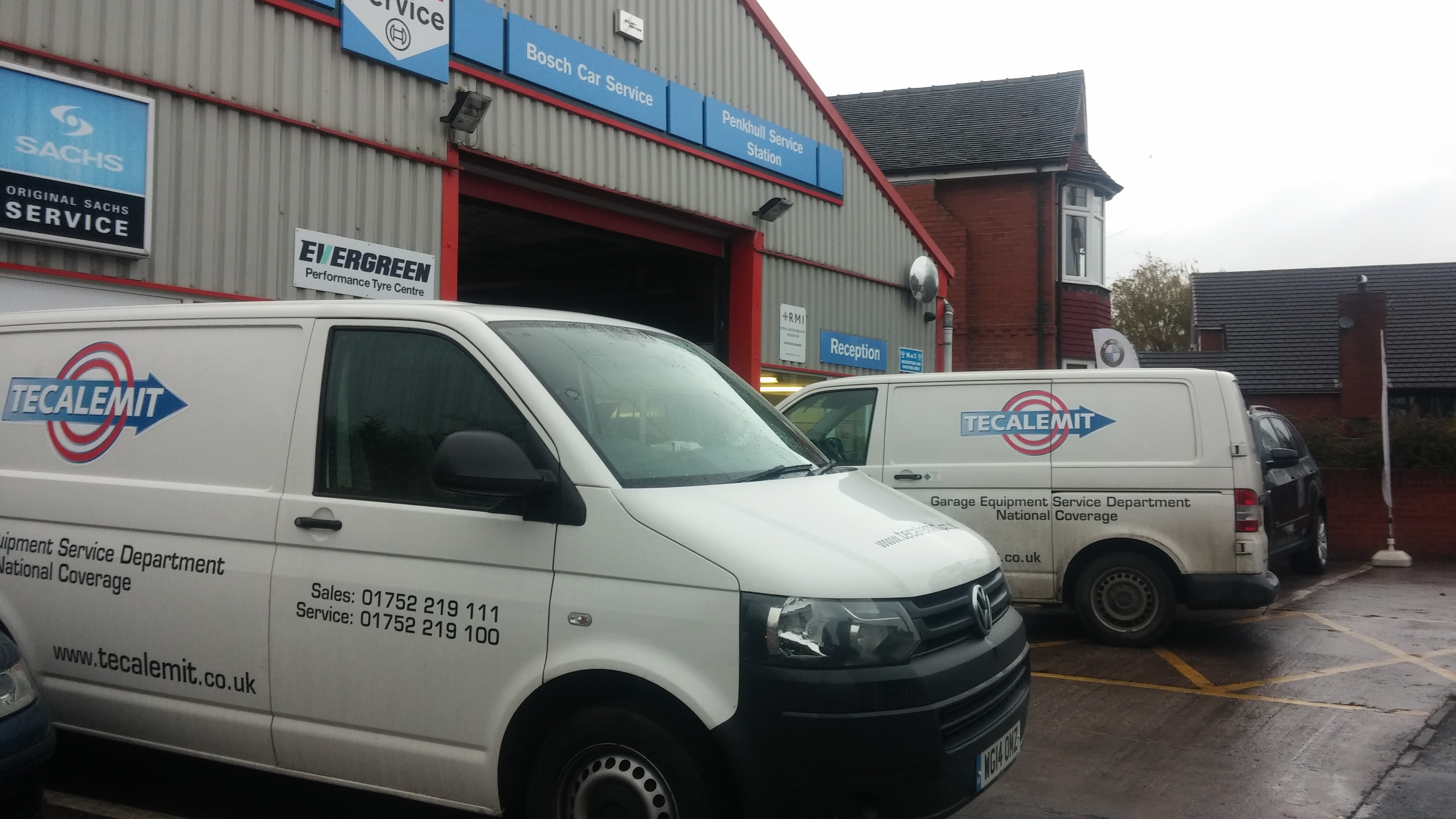 Tecalemit Garage Equipment vans, from Plymouth, in Penkhull Service Station, Stoke-on-Trent, recently.